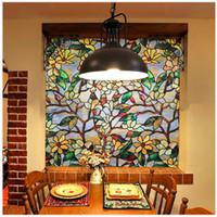 etiqueta de la puerta de vidrio de película al por mayor-Fancy-fix Morocco Stained Glass Film, privacidad Película decorativa, estática Cling Window Art Decal, ventana Puerta Película Etiqueta Decoración Q190601