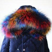 çok renkli kışlık atkılar toptan satış-Lady Blinger yeni sahte rakun kürk eşarp kış ceket kaput kürk dekor şal çok renkli sahte kürk eşarp kış erkekler ceket yaka D19011003