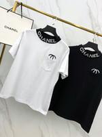 camisas de colar alto feminino venda por atacado-2019 Designer das Mulheres T-shirt Nova Chegada da Marca Tee com Carta Dupla C Bordado Manga Curta Casual Micro High Collar Duas Cores S-XL