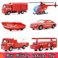 plastik otobüsler toptan satış-6 Adet / takım Mini Alaşım Yangın Söndürme Kamyon Model Araba Oyuncaklar Çocuklar için Plastik Helikopter Fireboat Otobüs Cep Diecast Araçlar Hediyeler için Boys