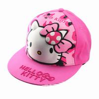 Wholesale hello girl hat resale online - New D Hello kitty Girl kid Cap Hat