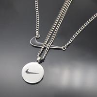 ingrosso bottiglie vuote della collana di vetro-Hip Hop Collana design simbolo con catena Pearl ghiacciato fuori in acciaio inox a due piani Men Jewelry