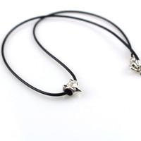 ожерелье из лисного сплава оптовых-50pcs/lot wholesale Fashion Alloy  Pendant Genuine Leather Rope Chain Women Men Unisex Necklace