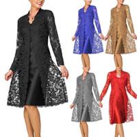 ceketler kadınlar anne gelin toptan satış-Kadın Moda İki Adet Büyüleyici Katı Renk anne Gelin Elbiseler Kısa Akşam Parti Resmi Elbiseler Dantel Ceket İki adet