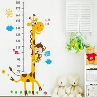 desenhos animados da coruja venda por atacado-NOVO Quarto Do Bebê Dos Miúdos Girafa Gráfico de Crescimento Altura Removível Medida Adesivo de Parede Decoração Do Quarto Animal Decalque