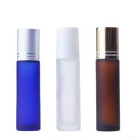 Wholesale lip balm prices for sale - Group buy 10ml Glass Essential Oil Roller Bottles with Glass Roller Balls Frosted Clear Blue Ambe Perfumes Lip Balms Roll On Bottles Good Price