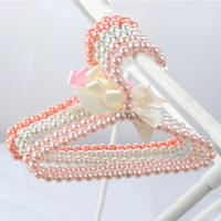 Wholesale clip hangers for clothes for sale - Group buy Beaded Bow Clothes Dress Coat Delicate Hangers Wedding For Kid Children Save Space Storage Clothing Racks
