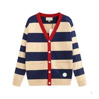 модный свитер оптовых-Роскошные дизайнерские свитера для Мужчин Женщин Осень Марка кардиган свитер пальто с буквами узор мода Мужские свитера топы одежда S-2XL