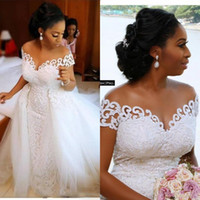 Wholesale lace mermaid pink wedding dresses for sale - Group buy Black Girl South African Mermaid Wedding Dresses Off Shoulder Lace Appliques Beaded Open Back Tulle Detachable Train Formal Bridal Gowns