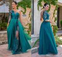 um ombro vestidos para damas de honra venda por atacado-Vintage verde escuro laço Appliqued A linha de vestido de baile eleagnt um ombro vestido de noite de luxo mangas compridas formal vestidos de dama de honra do partido