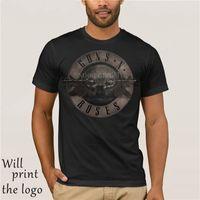 punk t shirt elbisesi toptan satış-Punk T Shirt Guns N Güller T-Shirt Erkekler Siyah Tshirt Ağır Metal 100% pamuklu giysiler Tops 3D Gun Gül Baskı Elbise hip Hop
