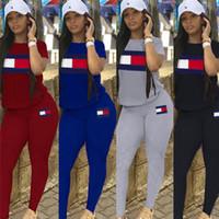 Wholesale pants clothe pieces resale online - Designer Women Clothing Piece Set Tracksuit TM Brand Crew Neck T shirt Pants Legging Luxury Two Pieces Outfits Bodysuit StreetwearC61002