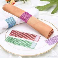Napkin Ring Hotel Table Decoration 8 Rows Mesh Drill Hollow Multi-Function Napkin Buckle 10 Colors Decoration Wedding Hotel BH1807 ZX