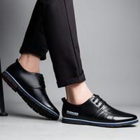 дышащая обувь бизнес повседневная оптовых-Driving Fashion Outdoor Breathable British Spring Autumn Casual Basic Men Shoes Microfiber Leather Comfy Lace Up Business Soft