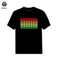 erkek sesleri toptan satış-Ruelk 2018 Satış Ses Aktif Led T Gömlek Light Up Ve Aşağı Yanıp Sönen Ekolayzer El T-shirt Erkekler Için Kaya Disko Parti Dj T Gömlek MX190710