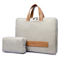 dizüstü bilgisayar çantası 15.6 toptan satış-PU Deri Laptop çantası durumda Macbook Laptop için Su Geçirmez Çanta için 13.3 14 15.6 inç Macbook pro kılıf dizüstü Erkekler