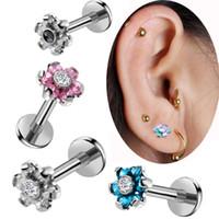 пирсинг гвоздя оптовых-MODRSA 2pcs Zircon Flower Ear Bone Nail 316L Stainless Steel Stud Earrings Tragus Helix Piercing Body Jewelry Piercing Oreja