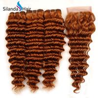 tejido de remy auburn al por mayor-Silanda Hair Colour Auburn # 30 Deep Wave Brazilian Remy Cabello humano Tramas 3 Paquetes de tejido con cierre de encaje 4x4 Envío gratis