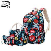 Wholesale pink backpacks chinese resale online - FengDong set chinese style teen girl school backpack flowers school bags for women girls floral backpack bookbag pencil bag