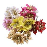 Wholesale diy home decor accessories resale online - 6 cm Gold Glitter Artificial Flowers Wedding Party Decoration Flowers DIY Bride Bouquet Wreath Accessories Home Decor
