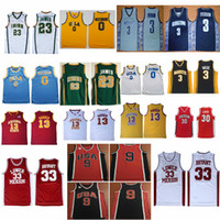 irisches basketball-trikot  groihandel-Schule Irish # 23 James Universität Georgetown Alle Iverson 3 Basketball NCAA UCLA Bruins Russell Westbrook Trikots