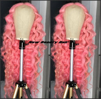 High quality deep curly Pink lace Wigs Long brazilian full Lace Front Wig For Women Napnk Peruca Cabelo synthetic hair wig natural hairline