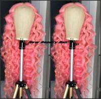 pelucas rizadas de alta calidad de largo al por mayor-Pelucas de encaje de color rosa rizado profundo de alta calidad Peluca larga del frente del cordón lleno brasileño para las mujeres Napnk Peruca Cabelo peluca sintética del pelo natural hairline