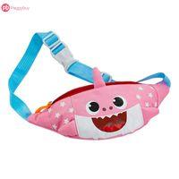 pacote de sorriso venda por atacado-Crianças Bonito Saco Da Cintura Saco De Cinto De Sorriso Tubarão Mini Zipper Bloco de Fanny Ombro Da Lona Cintura Pacote Pequenas Bolsas Coloridas Para Crianças