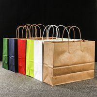 Wholesale portable bag handles resale online - New Environment Friendly Kraft Paper Bag Portable Gift Bag with Handles Store Packaging Bag Shopping Bags Gift Wrap WX9