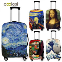 Wholesale suitcases school for sale - Group buy Art Oil Painting New Polyester Women Men Luggage Protective Bag Cartoon School Cover Elastic Suitcase Cover Anti Dust Trolley Case Cover