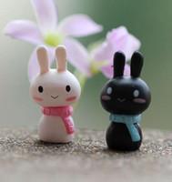 coelho lenço preto venda por atacado-Livre novo cachecol amante do coelho coelho preto branco tuzki ornamento da boneca de páscoa bonsai artesanato decoração micro paisagem acessórios diy