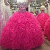 quente rosa vestidos quinceanera ruffled venda por atacado-2019 Luxo Hot Pink Cristal Bodice Vestidos de Baile Vestidos Quinceanera Tulle Ruffles Querida Lace Up Voltar Doce 16 Evening Vestido Formal Vestido