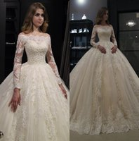 Wholesale gorgeous ball gown long wedding dress for sale - Group buy New Gorgeous Lace Ball Gown Wedding Dresses Bateau Neck Long Sleeves Sweep Train Vintage Wedding Gown robe de mariee With Buttons