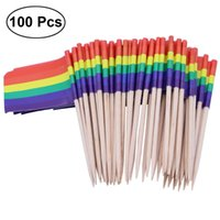 cure-dents drapeau achat en gros de-Lot de 100 Flag Racing Flag Toothpicks Picks Bâtons Appetizer fruits pour Toothpicks Cocktail Party -