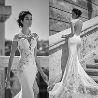 Wholesale wedding tulle brush dresses online - Vestidos De Noiva Crew Neck Mermaid Wedding Dresses Cap Sleeves Hollow Backless Brush Train Custom Made Plus Size Wedding Gowns