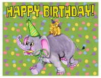 costume feliz aniversário venda por atacado-Custom Made T Shirt Feliz Aniversário Teddy Bear Equitação Elefante Balões Menina Menino
