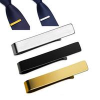 68ff2a6303de stainless steel Formal Men's Fashion Silver gold black Simple Necktie Tie  Pin Tie Clip Bar Wedding Accessories Groomsmen Gift drop ship