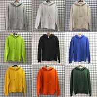 mavi sarı hoodie toptan satış-Düz renk Hoodie Kazak Siyah Beyaz Yeşil Mavi Kayısı Sarı Turuncu Mor Stil Pamuk Düz renk Erkekler Kadınlar Kapüşonlular