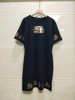 kıyafetler için model toptan satış-1205 2019 Bahar Marka Aynı Stil Elbise Ekip Boyun Bir Çizgi Kint Kısa Kollu İmparatorluğu Üstü Diz Moda Kadın Giyim QIAN