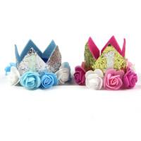 chapeaux d'anniversaire enfants achat en gros de-Thématique Nombres Créatifs Chapeau D'anniversaire Pour Un Ans Enfants Étincelants Fleurs Couronne Chapeaux Bébé Fête Fournitures Décoration 3 5xg A1