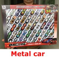 çocuk modelleri ücretsiz toptan satış-Sıcak Arabalar Model Oyuncaklar Metal Kabuk Simülasyon Modeli Yarış çocuk Oyuncak Hediye Koleksiyonu 50 adet / kutu Ambalaj ...