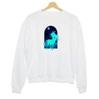 sudadera con estampado de unicornio al por mayor-Sudadera Hillbilly J-781 Moonlight Unicorn Estética Estampado de dama Sudaderas de manga larga Señora creativa Cuello redondo Camisa delgada