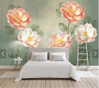 Wholesale mural painting wallpaper oil resale online - Custom retro d wallpaper abstract oil painting flower mural papel de parede for living room bedroom sofa background wall home decoration