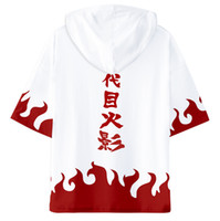 cosplay naruto boy venda por atacado-Naruto 3D Harajuku Com Capuz Camisas Meninos e Meninas Dos Desenhos Animados Imprimir camisetas 2019 Naruto Uzumaki Cosplay T-shirt Roupas de Manga Curta