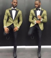 Wholesale black tuxedos resale online - Stylish Young Men Suits Summer Notch Lapel Groom Wedding Tuxedos Pieces Army Green Satin Men Party Tuxedo With Black Pant