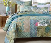 ingrosso letti trapuntati-Trapunta stile vintage set 3 pezzi handmade copriletto patchwork trapuntato trapuntato federa copriletto queen size biancheria da letto coperta