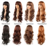 perucas fringes bangs venda por atacado-Estilo coreano Hot vendas mais cores menina estudante 26 polegada de comprimento ondulado beleza franja franja perucas