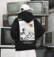 ingrosso stampa giapponese-2019 Felpe con cappuccio in stile giapponese Giappone Hip Hop Felpe casual con ricamo in stile giapponese Cat Wave Felpe con ricamo giapponese