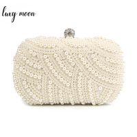100% Hand made Luxury Pearl Clutch bags Women Purse Diamond Chain white  Evening Bags for Party Wedding black Bolsa Feminina 5f4ecd24e662