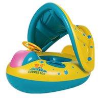 şişirilebilir bebek havuzları toptan satış-Güvenli Şişme Bebek Yüzme Halka Havuzu Bebek Yüzme Havuzu Şamandıra Ayarlanabilir Tente Koltuk Bebek Banyo Daire Şişme Tekerlek